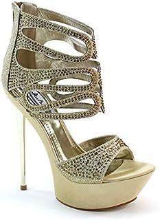 d52eef88c446e9 Brieten New Women s Rhinestone Platform High Heel Gold Bridal Shoes