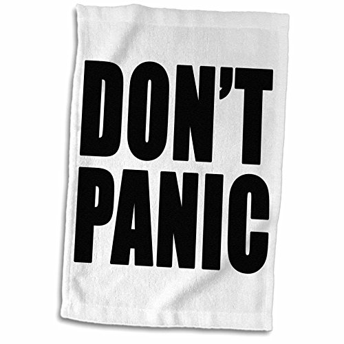 3dRose Handtuch Don't Panic, Schwarz , 15 x 22-Inch