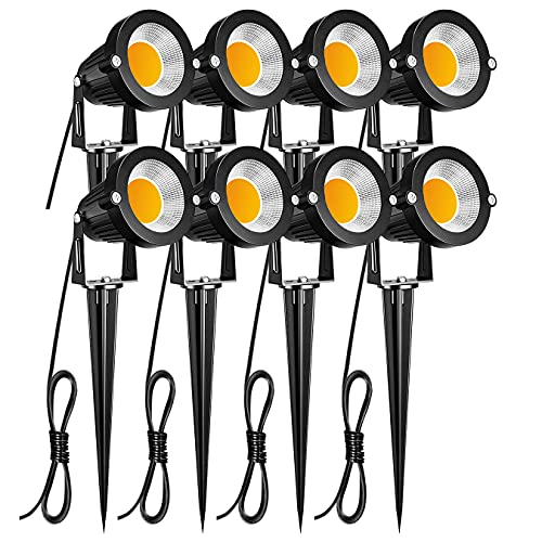 ZUCKEO Low Voltage Landscape Lights LED Landscape Lighting, 5W 12V Garden Pathway Lights Waterproof Warm White Walls Trees Flags Outdoor Landscape Spotlights with Stakes (8 Pack)