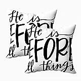 Fundas de almohada para sofá, fundas de almohada cuadradas, la preocupación de Navidad termina cuando comienza la fe Versículo bíblico con letras Caligrafía moderna Cristiana en ambos lados Cojín de d