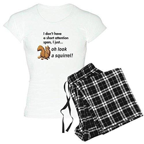 CafePress Oh Look A Squirrel Women's Light Pajamas Womens Novelty Cotton Pajama Set, Comfortable PJ Sleepwear