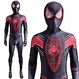 NVHAIM Spiderman PS5 Miles Morales Morador Body, Halloween Spiderman Sumpsuits Spandex Fancy Dress Traje Estéreo 3D Mascarilla Roja,Kids S