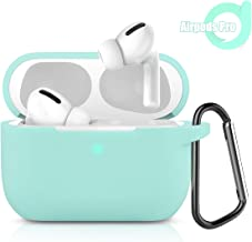 Bqmte Protective Silicone Case for AirPods Pro, Visible Front LED Shock & Scratch-Resistant, Durable AirPods Accessories Case Skin for AirPods Pro Charging AirPods 3 2019 (Mint Green)