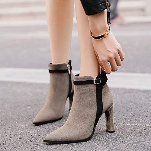 Shukun enkellaarzen herfst dames laarzen spits dik met hoge hak laarzen korte buis wild klein met dames laarzen Martin laarzen