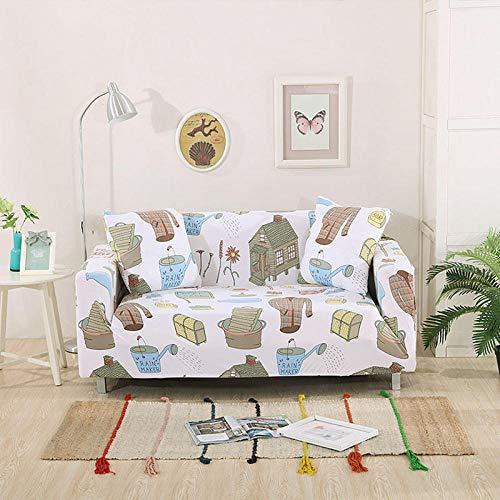 NLADTWLSD Funda de sofá de Alta Elasticidad, impresión Fundas para Sofa Antideslizante Cubierta para Sofa Protector para Sofás Lavable para el Salón (4 Asiento,Blanco)