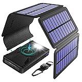 BLAVOR Cargador solar inalámbrico, 20000 mAh, batería externa con 5 paneles solares extraíbles, cargador Qi portátil, linterna de tipo C y salida dual