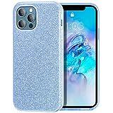 MILPROX Compatible con iPhone 12 Pro Max Case (2020), carcasa de gel brillante brillante de lujo, 3 capas, antideslizante, funda suave, color azul