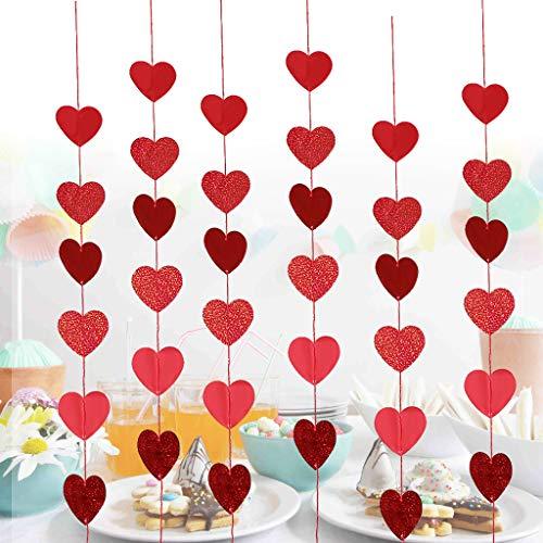 Streamers & Confetti - liefde hart papier opknoping slingers String Banner Valentijnsfeestdecoratie - Streamers