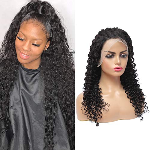 Yueruina 10A Grade Lace Front Wigs Human Hair,150% Density Deep Wave Wig for Women,13X4 Brazilian Virgin Hair with Baby Hair Pre Plucked Bleached Knots(Natural Color,16 inch)