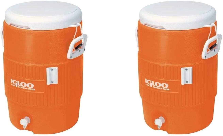Igloo 5 Gallon Seat Top Beverage Jug With Spigot Orange 2 Pack