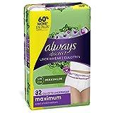 Always Discreet, Incontinence & Postpartum Underwear for Women, Maximum, Small / Medium,...