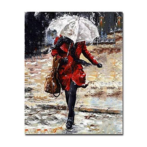 Ölgemälde Digitalen Ölgemälde Nach Zahlen Kits Färbung Frau Im Regen Mit Regenschirm Bild Zeichnung Auf Leinwand Wohnkultur Wohnzimmer Rahmen-50Cmx65Cm