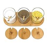 Relaxdays Gewürzgläser Jiao HBT: 12 x 31 x 12 cm Bambus Gewürzhalter für 3 Gewürzbehälter aus Glas mit passenden Löffeln als Alternative zu Gewürzständer und Gewürzregal für Küche und Esstisch, Natur - 2