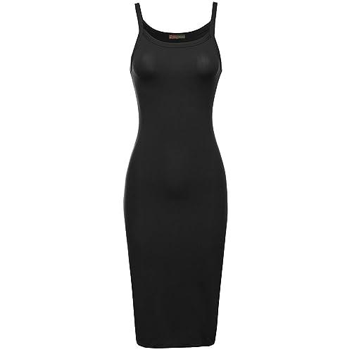 4f18241d1c06 Red Olives Womens Plain Strappy Cami Viscose Bodycon Long Midi Dress