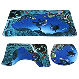 NUOLUX 3pcs/Set Ocean Style Underwater World Dolphin Carpe Toilet Mat