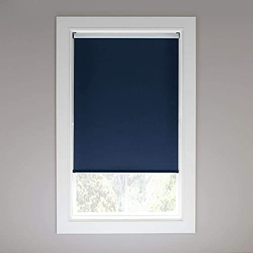 high quality StyleWell Cut-to-Size online Dark Blue Cordless Blackout Fabric Roller Shade 72.25 in. W online x 72 in. L outlet sale