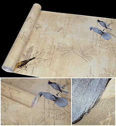 Wskjeiqpl PVC Ländlich Blumen Selbstklebend Tapete Wasserdicht Schlafzimmer Wohnzimmer Möbel Renoviert Selbstklebend Tapete Blaue Elster 10000 * 45 cm