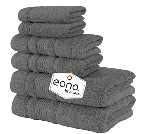 Eono von Amazon, Spa & Hotel Handtücher 6 Stück Handtuch-Set, 2 Badetücher, 2 Handtücher und 2 Waschlappen (Nadelstreifen grau)