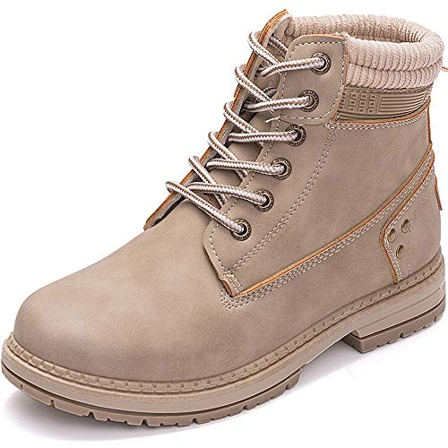 Athlefit Women's Lace up Ankle Boots Work Waterproof Low Heel Combat Booties Size 8 Khaki