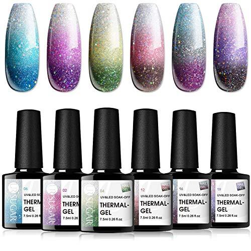 UR SUGAR 7,5ML UV Nagellack Gelnägel Farben Thermo Glitzern Farbwechsel Nagellack Farbwechsel temperatur für Frühling Shellac Farben 6PCS Kit