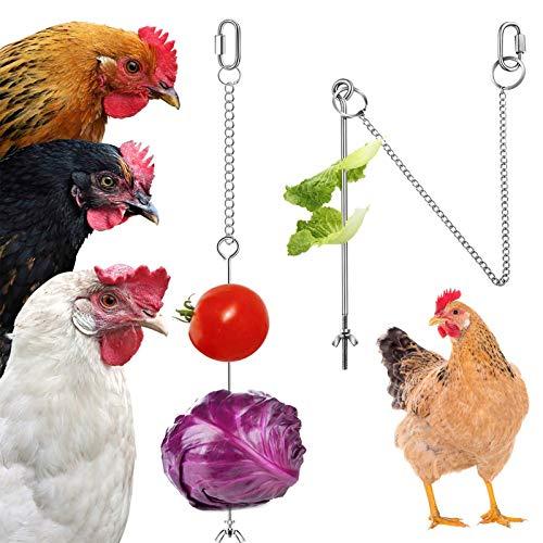 Comedero colgante para pájaros de wegreeco, soporte para comida, pollo y verduras, soporte para frutas, gallinas alimentador de acero inoxidable, juguete para forrajear gallinas