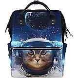 Mummy Backpack Gato En El Espacio Ultraterrestre Mochila para Pañales Mochilas con Cremallera Casuales De Gran Capacidad Bolsas para Bebés Viajes Multifunción Mamá Papá Unisex 28X18X40Cm