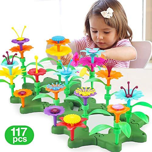 CENOVE Blumen Kombination Spielzeug für 3 4 Jährige Mädchen, Blumengarten DIY Bouquet Sets Geschenk 3-6 Jahre Mädchen, Blumen und Farben Lernspielzeug(117PCS)