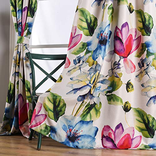 Stylish Living Elegant Abstract Colorful Curtains Printed,Colorful Flower Curtain Printed,Fashion Curtain 84 Inch Lenth for Bedroom(Floral Print Curtain 1 Piece Set)