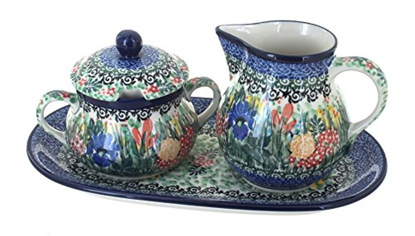 Polish Pottery Summer Blooms Large Cream & Sugar Set with Tray
