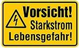 Schild Vorsicht! Starkstrom Lebensgefahr! Kunststoff 120x200mm (Warnschild Strom, Hochspannung) praxisbewährt, wetterfest