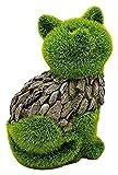 Katze dekofigur Garten Balkon deko mit moos für außen innen Balkon terrassen büro Hof vorgarten deko Figuren beflockt mit Kunstrasen Stein Optik kunstharz Dekoration Geschenk