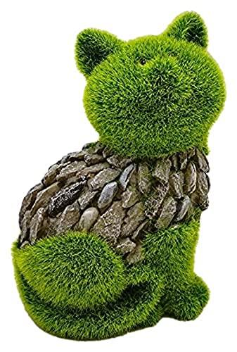 Katze Garten Balkon deko mit moos für außen innen Wohnzimmer Balkon terrassen büro Hof vorgarten deko Figuren beflockt mit Kunstrasen Stein Optik kunstharz Dekoration Geschenk