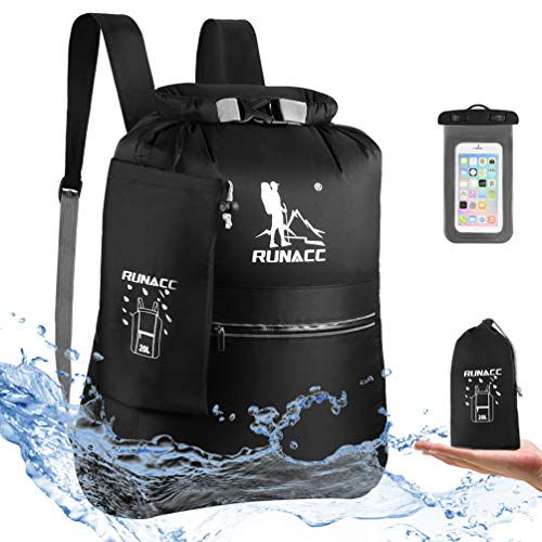 RUNACC Mochila Impermeable 20 L Flotante, con Funda Impermeable para teléfono móvil, para Playa, Kayak, Camping, navegación, natación, Pesca, Senderismo (Negro)