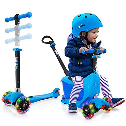 Hurtle 3 Wheeled Scooter for Kids - Child/Toddlers Toy Kick Scooters w/Storage Box Seat, Safety Push-Bar Handle, Adjustable Height, Flashing Wheel Lights, for Boys/Girls 1-5 Year Old HUKS86B (Blue)