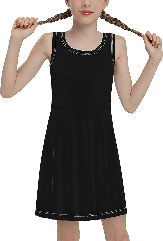 SDGhgHJG White Black Flame Sleeveless Dress for Girls Casual Printed Pleated Skir