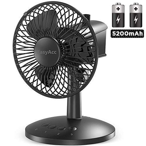 EasyAcc Ventilatori USB 5200 mAh Batteria Ventilatore da Tavolo Ricaricabile USB Personale Ventilatore 16 Ore 3 velocità Rotazione 60 Muto da Scrivania Adatto per Viaggio BBQ Camping