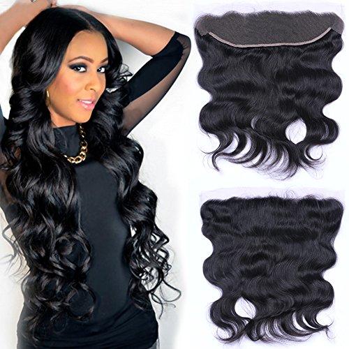Puddinghair Bresilien Virgin Extensions Cheveux 13 * 4 Frontal Lace Closure vague de corps Noir Naturel