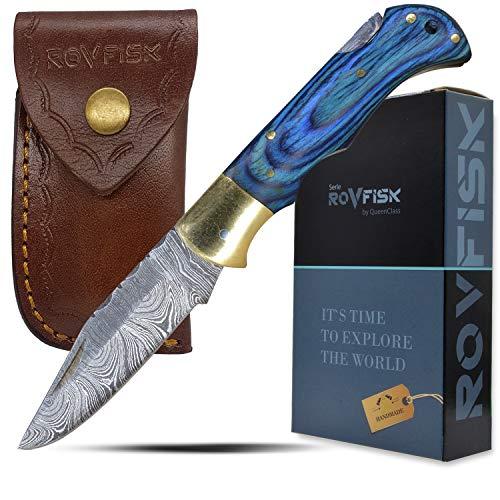 QueenClass Taschenmesser Klappmesser Carbonstahl - handgefertigtes Sport Outdoor Survival Angelmesser aus Damast-Stahl handgeschmiedet (blau)