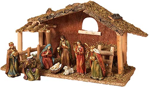 Party Explosions Holy Family 10-Piece Holiday Nativity Set with Stable and Hay (Holy Birth 9pc Nativity with Mossy Stable and Baby Jesus)