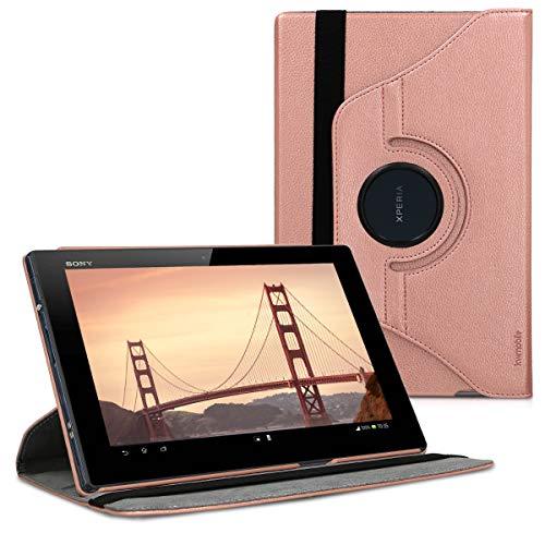 kwmobile Funda Compatible con Sony Xperia Tablet Z - Carcasa de Cuero sintético para Tablet en Oro Rosa