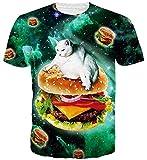 Goodstoworld Hamburguesa Gato en el Espacio 3D de impresión Camiseta de los Hombres de Las Mujeres Ocasional del Verano Manga Corta Camiseta T-Tops Ropa Pequeño