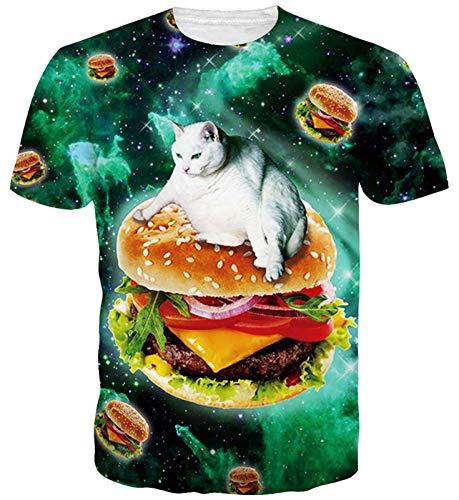Goodstoworld Hombres Mujeres T del Gato del Espacio Camisa Verde Divertido Personalizado Informal Camiseta de Manga Corta T-Tapas de la Camisa XXL