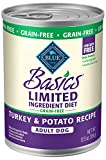 Blue Buffalo Basics Limited Ingredient Diet, Grain Free Natural Adult Wet Dog Food, Turkey 12.5-oz cans (Pack of 12)