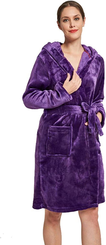 Women's Plush Soft Warm Fleece Bathrobe Robe Warm Pajamas (color   Purple, Size   L)