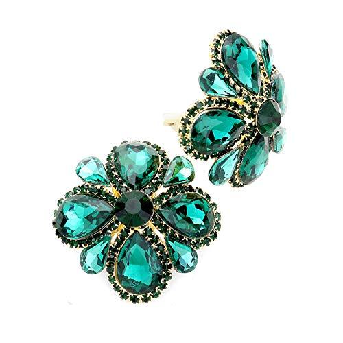 Schmuckanthony Hoernel - Pendientes grandes de clip con diseño de flores, cristal esmeralda, color verde, 4 cm de diámetro