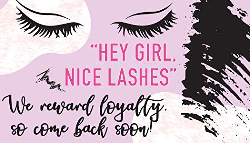 Eyelash Extensions Design - Set of 50 Loyalty Cards - Blank Loyalty Card Stationery - Great Loyalty Cards For Restaurants Hair Beauty Nail Salons or Spas