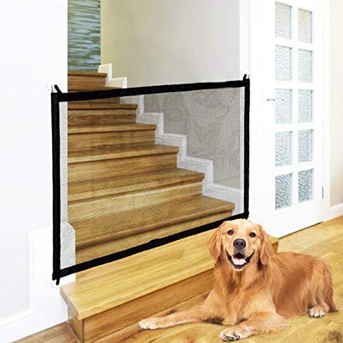 Baby Gate Dog Gate,Magic Gate for Pet,Dog Mesh Gate for Stairs, Outdoor and Doorways Safety Enclosure Pet Isolation,43'x29',Black