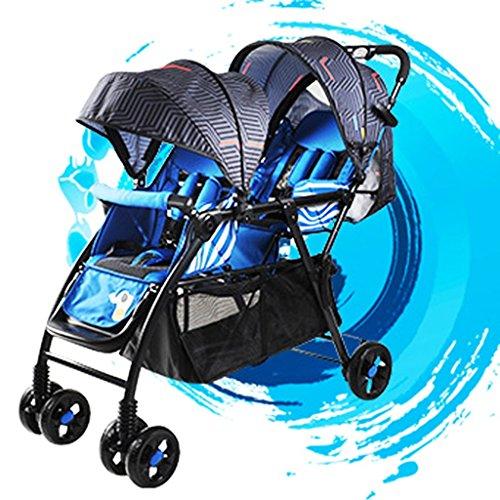 QQB &Carro Plegable Cochecito de bebé Segundo niño Coche Doble Antes y después del niño Grande Puede Sentarse Antes de acostarse Dos niños Ligeros (Color : 2#)