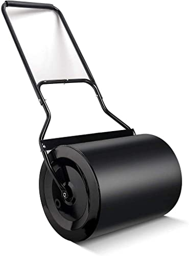 Lawn Roller 16x20-Inch, 60L/ 16 gallons Garden Drum Roller Push/Tow Behind, Filled with Water/Sand for Eliminating Turf Damage, Depositing Loose Dirt, Seeding-HR60L
