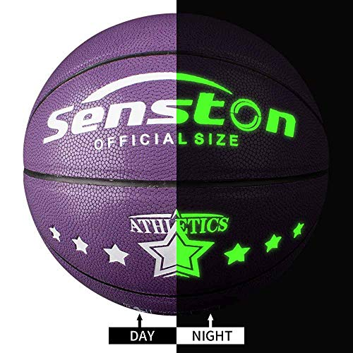 %37 OFF! Senston Night Ball Basketball Youth Size 5, Glow in The Dark Basketball Ball for Kids Junio...